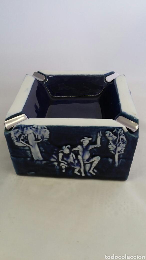 Antigüedades: Cenicero de porcelana Mirete con escena de Quijote y Sancho - Foto 6 - 223547633