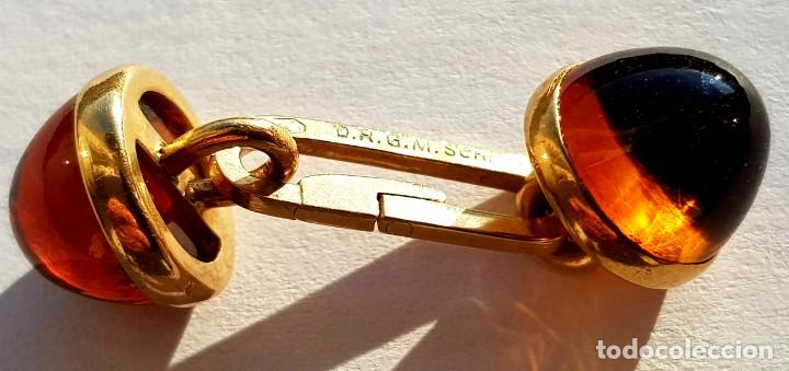 Antigüedades: ORO 18K GEMELOS ALEMANES AÑOS 30 ART-DECO FIRMADOS,AMBRA DE GRAN PUREZA - Foto 5 - 223548816
