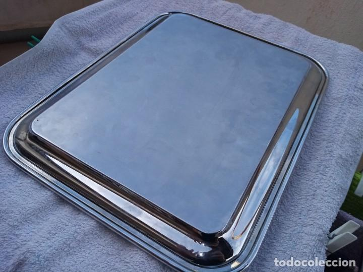 Antigüedades: Bonita bandeja rectangular de acero inoxidable. - Foto 4 - 223590466