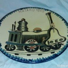 Antiguidades: BELLO GRAN PLATO DE CERÁMICA PUIGDEMONT FERROCARRIL MATARÓ 34.5CM LA BISBAL. Lote 223653516