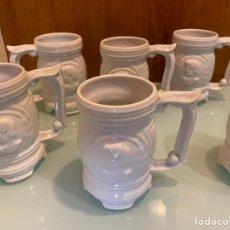 Antigüedades: 6 JARRAS DE CERVEZA DE CERÁMICA. JUEGO DE 6 JARRAS DE CERVEZAS DECORADAS CON MOTIVOS ROMANOS Y/O GRI. Lote 28941270