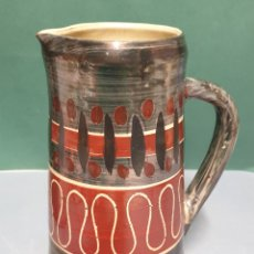 Antigüedades: JARRA CERAMICA VIDRIADA REFLEJOS METÁLICOS MARCA EN BASE. Lote 223707873