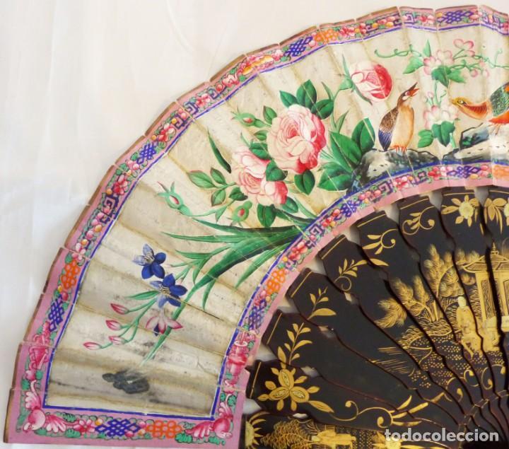 Antigüedades: PRECIOSO ABANICO CANTONÉS DE LAS MIL CARAS - SG XIX - 30 PERSONAJES - LACADO Y PINTADO. - Foto 8 - 223730397