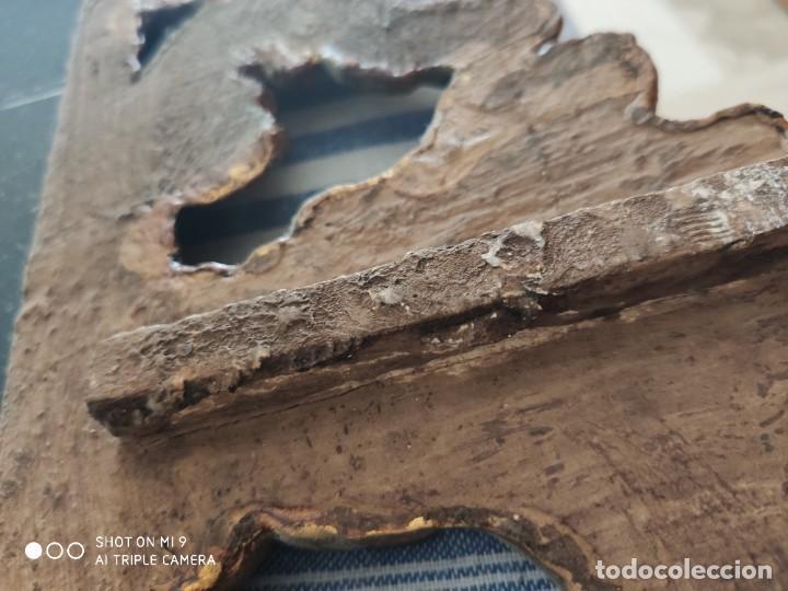 Antigüedades: ESPEJO CORNUCOPIA, MADERA TALLADA A MANO Y PAN DE ORO ESTILO BARROCO SIGLO XIX, TAMAÑO GRANDE. - Foto 13 - 219098446