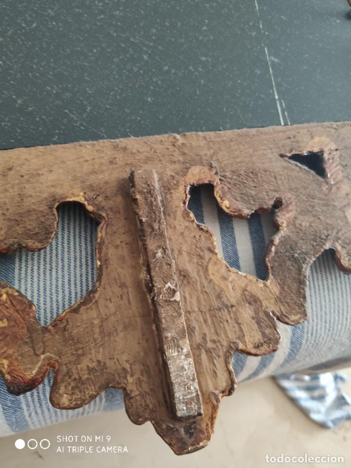 Antigüedades: ESPEJO CORNUCOPIA, MADERA TALLADA A MANO Y PAN DE ORO ESTILO BARROCO SIGLO XIX, TAMAÑO GRANDE. - Foto 14 - 219098446