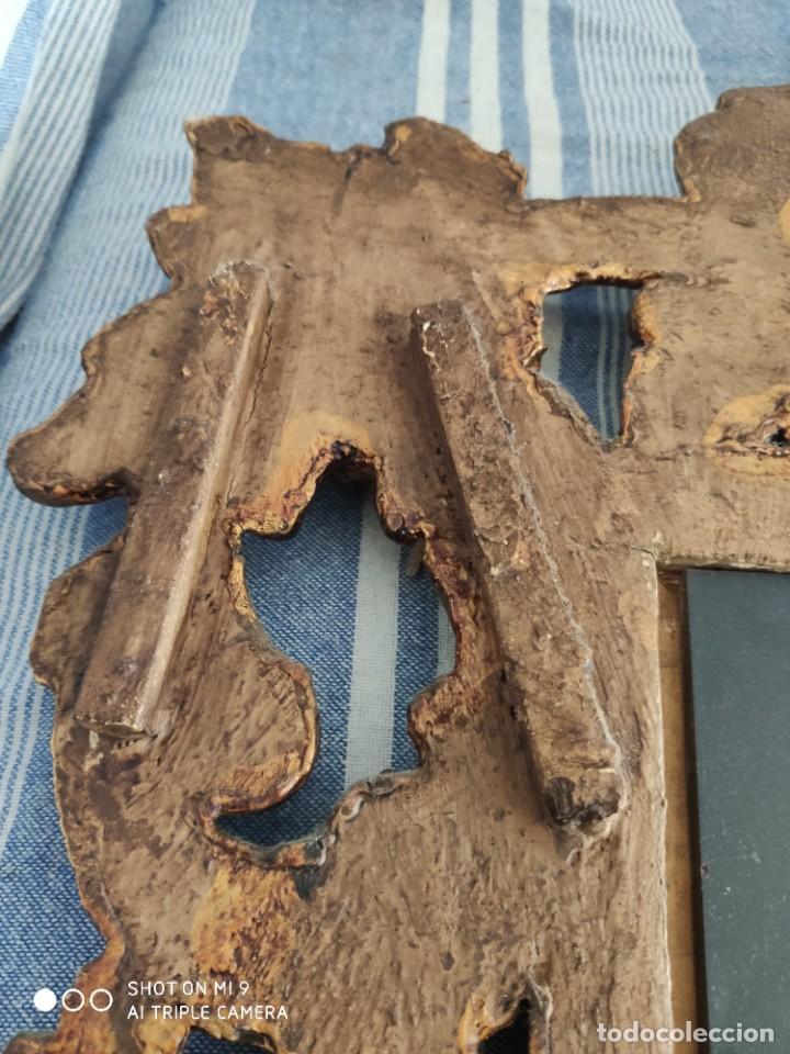 Antigüedades: ESPEJO CORNUCOPIA, MADERA TALLADA A MANO Y PAN DE ORO ESTILO BARROCO SIGLO XIX, TAMAÑO GRANDE. - Foto 19 - 219098446