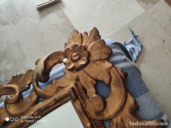 Antigüedades: ESPEJO CORNUCOPIA, MADERA TALLADA A MANO Y PAN DE ORO ESTILO BARROCO SIGLO XIX, TAMAÑO GRANDE. - Foto 31 - 219098446