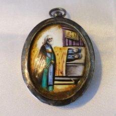 Antigüedades: RELICARIO DE PLATA Y PORCELANA ESMALTADA, SIGLO XIX.. Lote 223819587