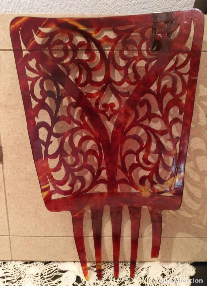 Antigüedades: Antigua peineta calada para mantilla española y/o traje regional - Largo 23cm Ornamento 14cm x 12cm - Foto 3 - 223829768