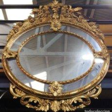 Antigüedades: ESPEJO ANTIGUO DE MADERA Y PAN DE ORO. Lote 223947757