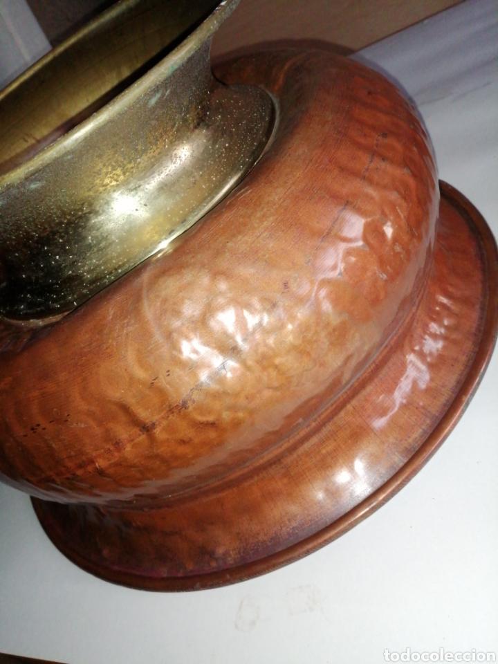 Antigüedades: Palangana o macetero en cobré y laton - Foto 11 - 223949447