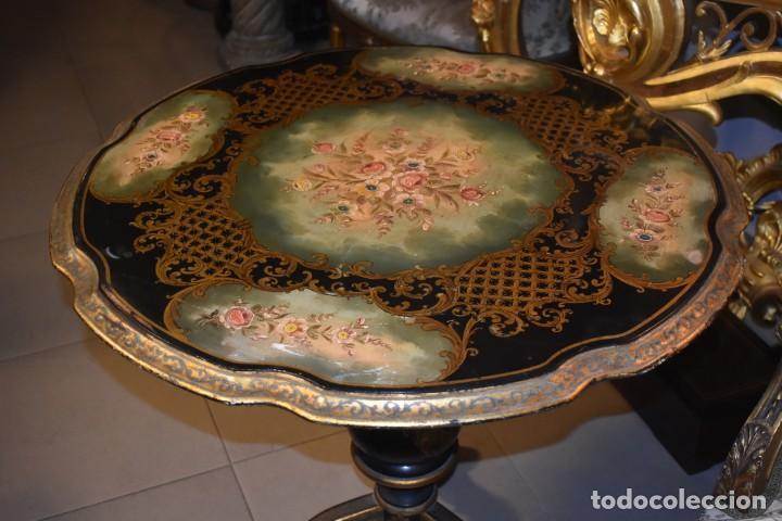 Antigüedades: ESPECTACULAR MESA ABATIBLE PINTADA A MANO - Foto 5 - 223974106