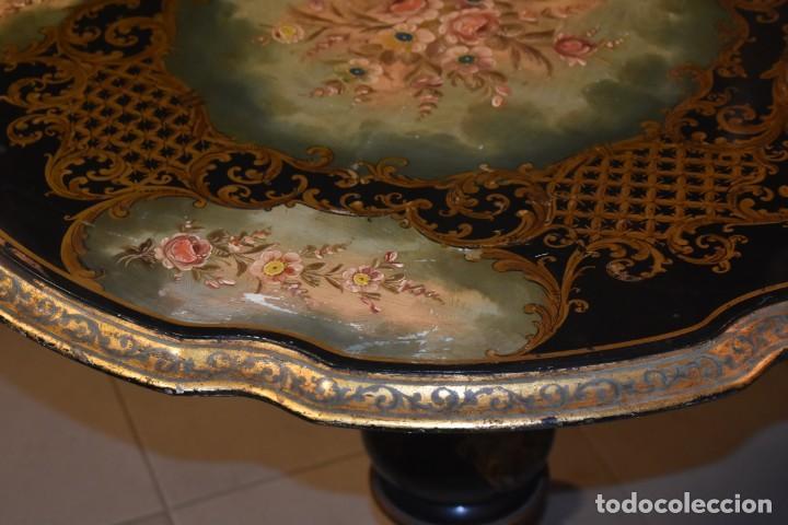 Antigüedades: ESPECTACULAR MESA ABATIBLE PINTADA A MANO - Foto 6 - 223974106