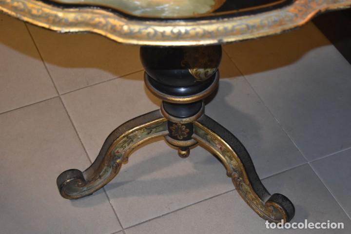 Antigüedades: ESPECTACULAR MESA ABATIBLE PINTADA A MANO - Foto 7 - 223974106
