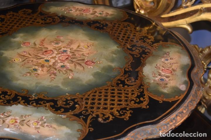 Antigüedades: ESPECTACULAR MESA ABATIBLE PINTADA A MANO - Foto 8 - 223974106
