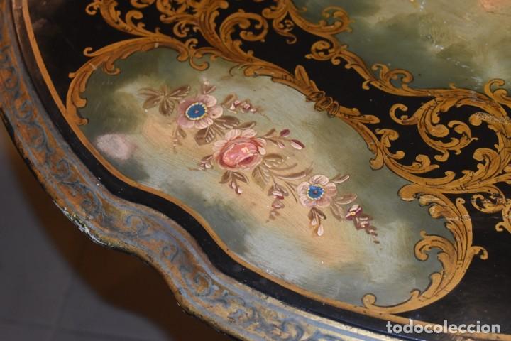 Antigüedades: ESPECTACULAR MESA ABATIBLE PINTADA A MANO - Foto 15 - 223974106