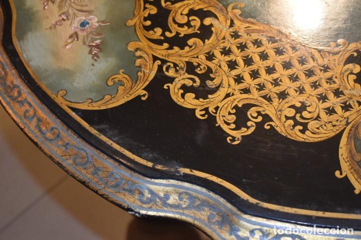 Antigüedades: ESPECTACULAR MESA ABATIBLE PINTADA A MANO - Foto 20 - 223974106