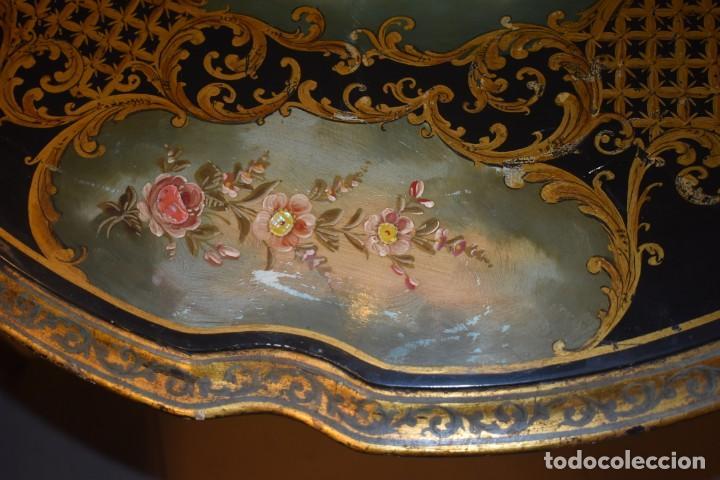 Antigüedades: ESPECTACULAR MESA ABATIBLE PINTADA A MANO - Foto 22 - 223974106