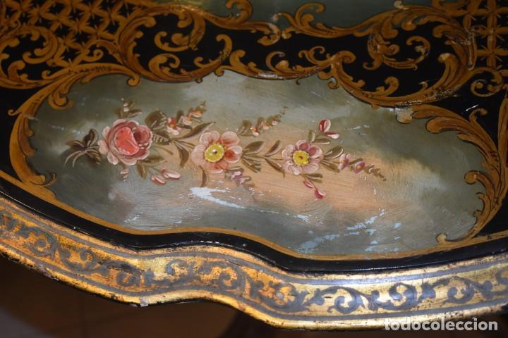 Antigüedades: ESPECTACULAR MESA ABATIBLE PINTADA A MANO - Foto 24 - 223974106