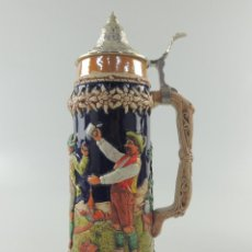 Antiquités: PRECIOSA JARRA DE CERVEZA ALEMANA TAPA DE ZINC PIEZA DE DECORACION. Lote 224051530