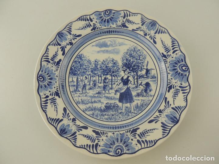 EXCELENTE PLATO DE PORCELANA HOLANDESA DELFTS BONITOS DETALLES (Antigüedades - Porcelana y Cerámica - Holandesa - Delft)