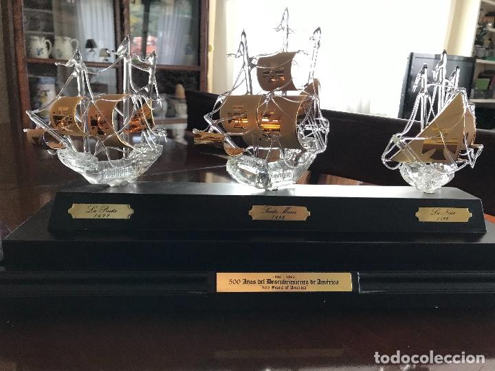 TRES BARCOS DE CRISTOBAL COLON EN CRISTAL SOPLADO (Antigüedades - Cristal y Vidrio - Catalán)