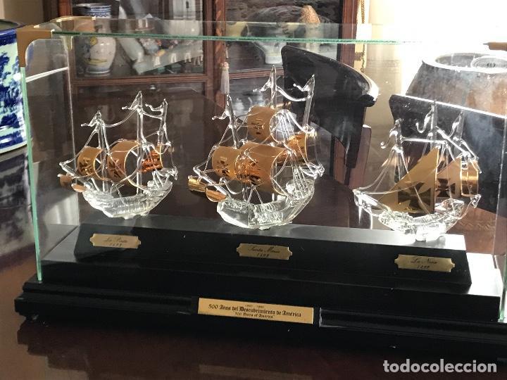 Antigüedades: TRES BARCOS DE CRISTOBAL COLON EN CRISTAL SOPLADO - Foto 8 - 224061150