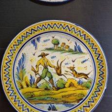 Antigüedades: TRIANA ANTIGUO Y PRECIOSO PLATO DE ESCENA DE CAZA. Lote 224079070