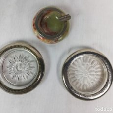 Antigüedades: LOTE VARIADO DE 3 CENICEROS CRISSTAL Y PIEDRA -COLECCIONISTAS. Lote 224084572