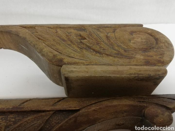 Antigüedades: PAREJA DE PATAS. PIES DE MADERA TALLADA. CAMA. MUEBLE - Foto 12 - 224111193