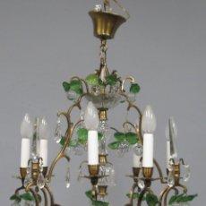 Antigüedades: ANTIGUO LAMPARA DE BOLAS Y HOJAS DE CRISTAL DE BOHEMIA. AÑOS 50-60. Lote 224118301