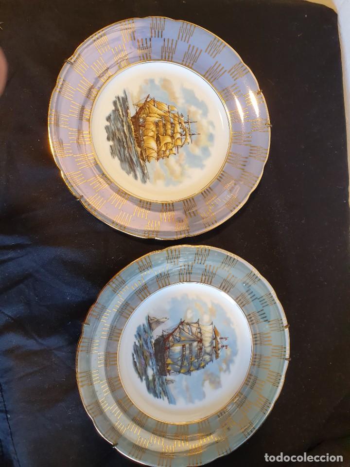 PAREJA DE PLATOS PORCELANA SANTA CLARA VIGO (Antigüedades - Porcelanas y Cerámicas - Santa Clara)