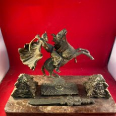 Antigüedades: ANTIGUA ESCRIBANÍA ESCRITORIO DE MÁRMOL Y BROCE. Lote 224179782