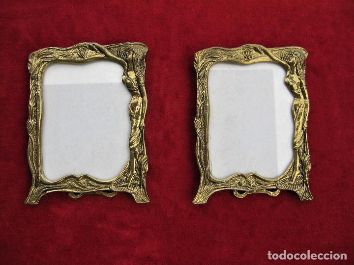 Antigüedades: 2 MARCOS PORTARRETRATOS ART NOUVEAU EN BRONCE MACIZO CON PIE Y CRISTAL PERFECTOS, TRASERA DE ACERO. - Foto 7 - 224210255