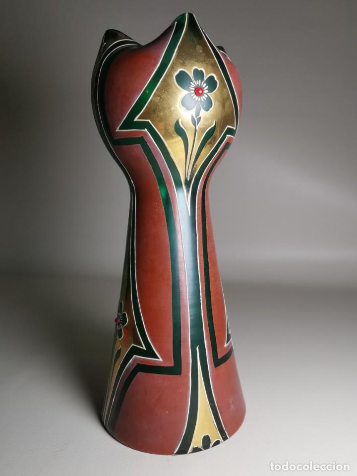 Antigüedades: jarron florero modernista catalan ,para cultivo jacintos, esmaltado y dorado a fuego - Foto 3 - 224253990