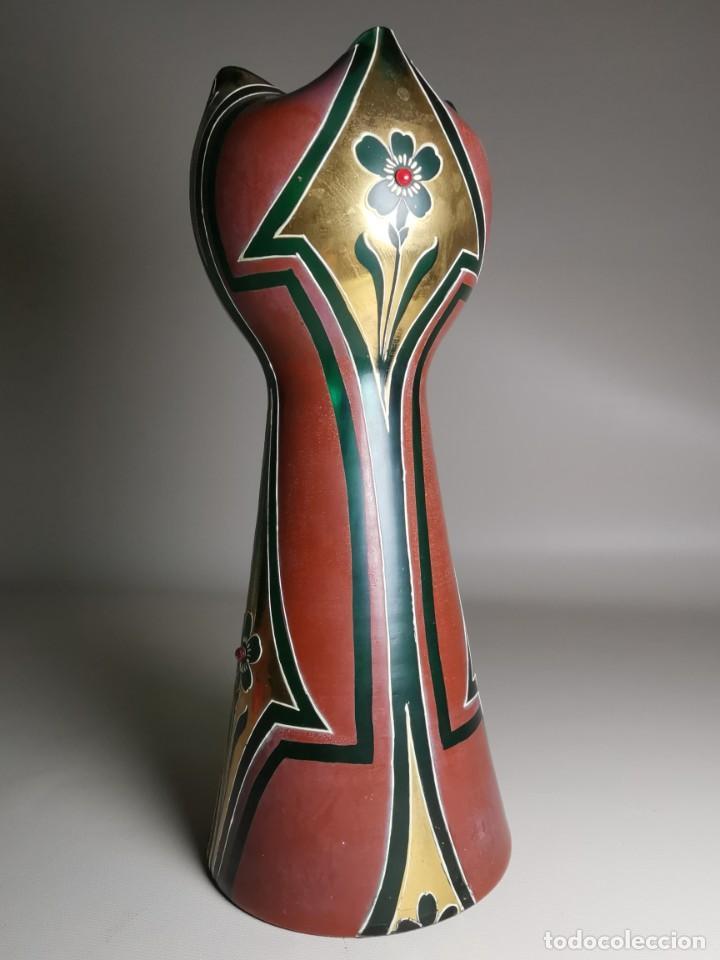 Antigüedades: jarron florero modernista catalan ,para cultivo jacintos, esmaltado y dorado a fuego - Foto 4 - 224253990