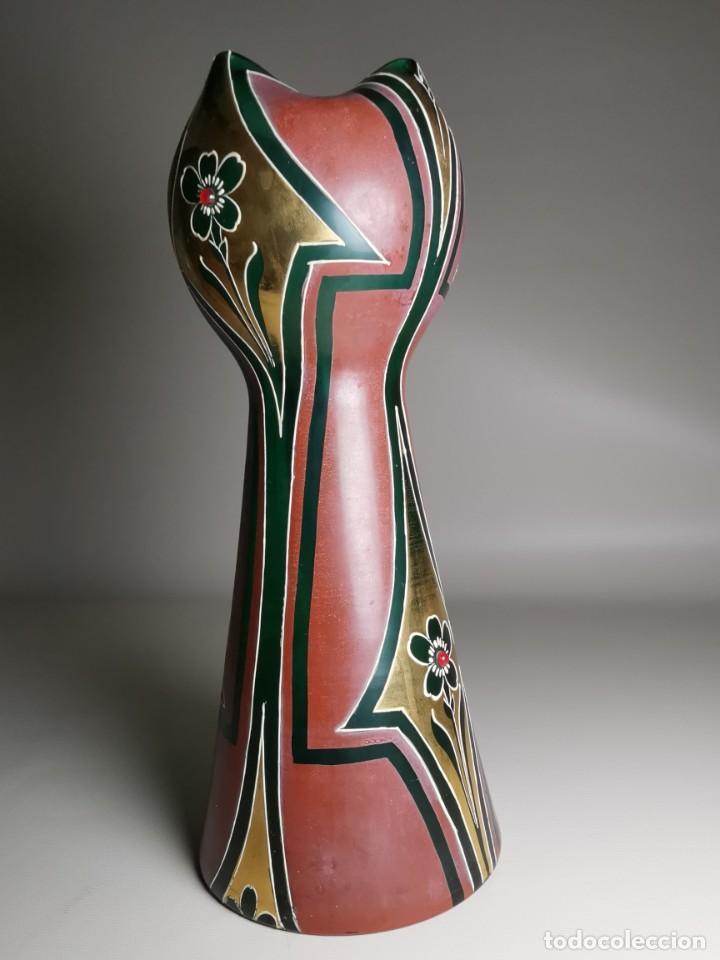 Antigüedades: jarron florero modernista catalan ,para cultivo jacintos, esmaltado y dorado a fuego - Foto 5 - 224253990