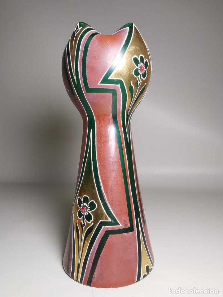Antigüedades: jarron florero modernista catalan ,para cultivo jacintos, esmaltado y dorado a fuego - Foto 7 - 224253990