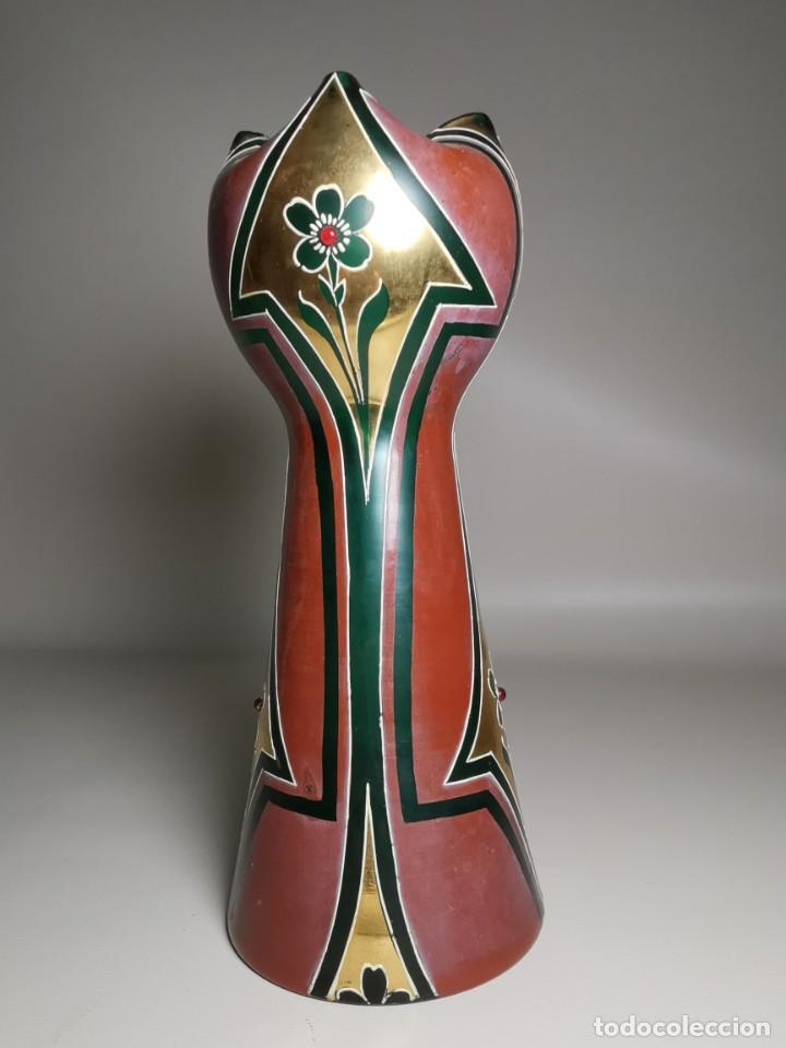 Antigüedades: jarron florero modernista catalan ,para cultivo jacintos, esmaltado y dorado a fuego - Foto 8 - 224253990