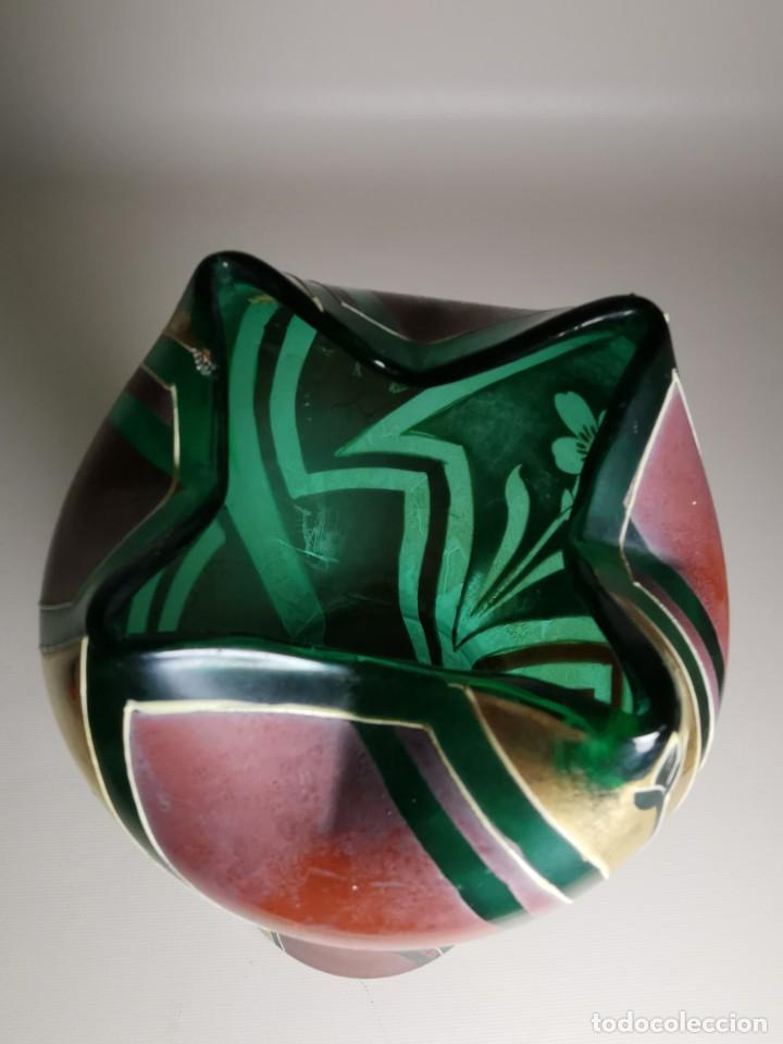 Antigüedades: jarron florero modernista catalan ,para cultivo jacintos, esmaltado y dorado a fuego - Foto 10 - 224253990