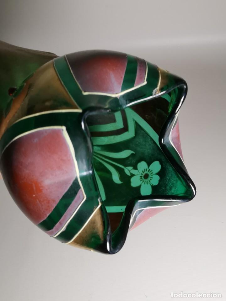 Antigüedades: jarron florero modernista catalan ,para cultivo jacintos, esmaltado y dorado a fuego - Foto 11 - 224253990