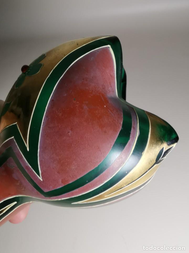 Antigüedades: jarron florero modernista catalan ,para cultivo jacintos, esmaltado y dorado a fuego - Foto 13 - 224253990