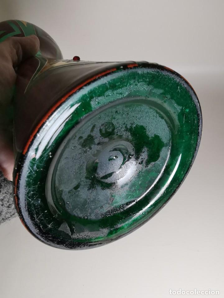 Antigüedades: jarron florero modernista catalan ,para cultivo jacintos, esmaltado y dorado a fuego - Foto 14 - 224253990