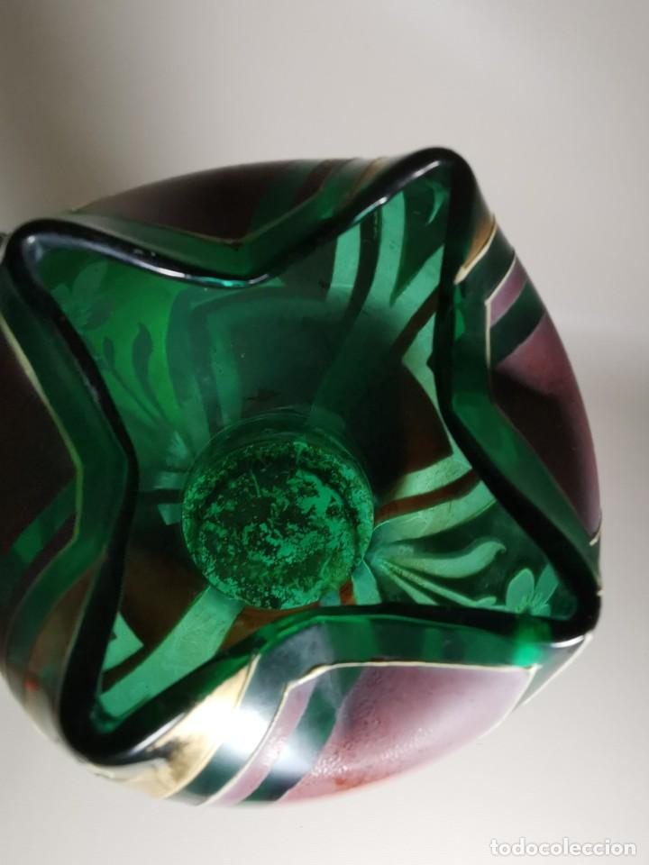 Antigüedades: jarron florero modernista catalan ,para cultivo jacintos, esmaltado y dorado a fuego - Foto 16 - 224253990