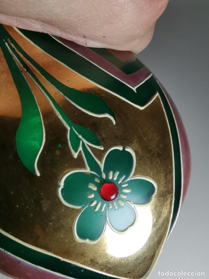 Antigüedades: jarron florero modernista catalan ,para cultivo jacintos, esmaltado y dorado a fuego - Foto 17 - 224253990