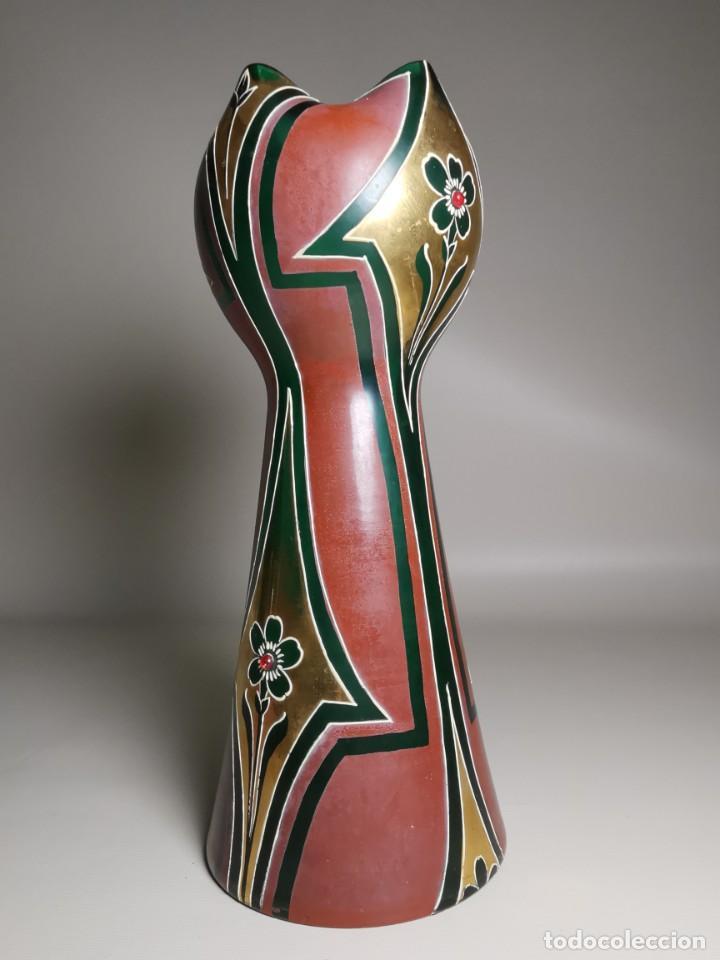 Antigüedades: jarron florero modernista catalan ,para cultivo jacintos, esmaltado y dorado a fuego - Foto 22 - 224253990