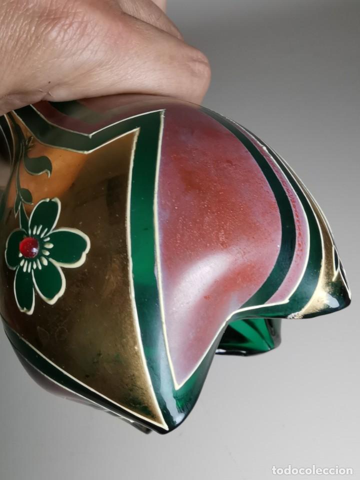 Antigüedades: jarron florero modernista catalan ,para cultivo jacintos, esmaltado y dorado a fuego - Foto 28 - 224253990