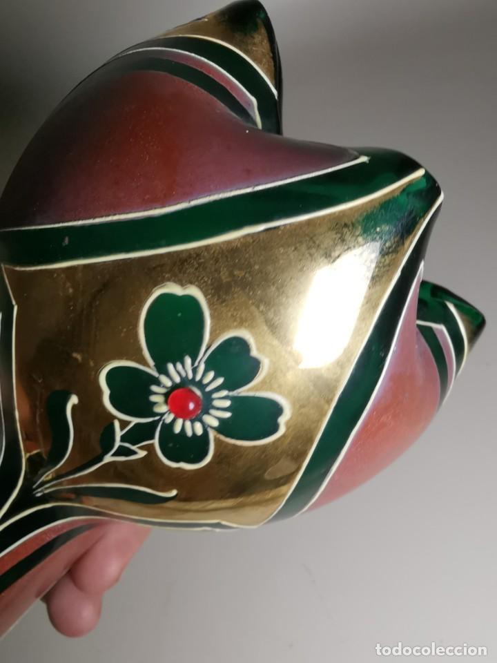 Antigüedades: jarron florero modernista catalan ,para cultivo jacintos, esmaltado y dorado a fuego - Foto 32 - 224253990