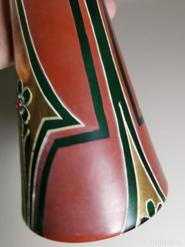 Antigüedades: jarron florero modernista catalan ,para cultivo jacintos, esmaltado y dorado a fuego - Foto 34 - 224253990
