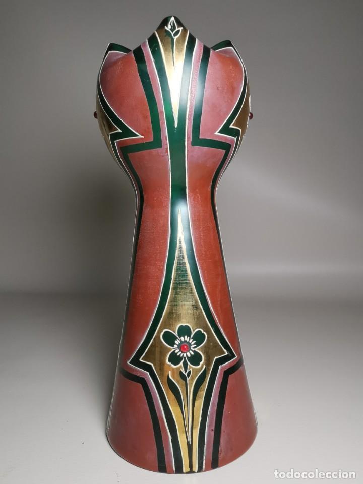 Antigüedades: jarron florero modernista catalan ,para cultivo jacintos, esmaltado y dorado a fuego - Foto 37 - 224253990